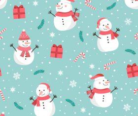 Seamless pattern christmas snowman vector