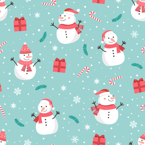 Seamless pattern christmas snowman vector
