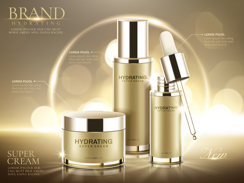 Set hydrating skin care products advertising vector
