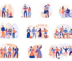 Set of season holidays party isolated illustration vector