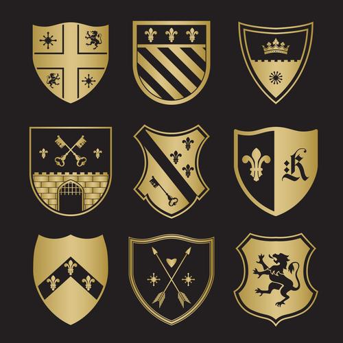 Shield different patterns heraldry vector