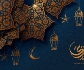 Shiny light background Ramadan mubarak card vector
