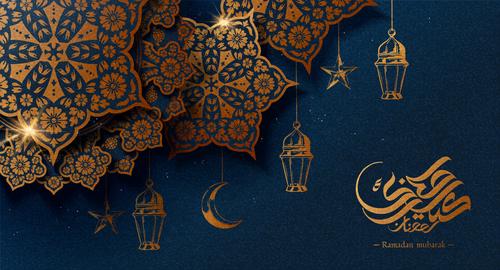 Shiny light background Ramadan mubarak card vector