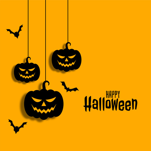 Silhouette pendant pumpkin halloween card vector