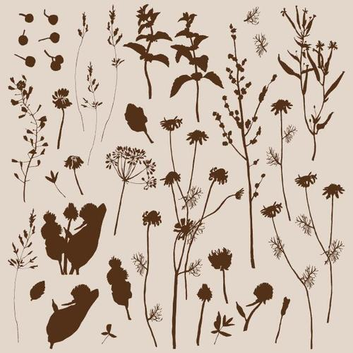 Silhouette wild plant pattern vector