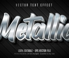 Silver editable font effect text vector