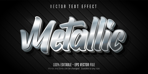 Silver editable font effect text vector