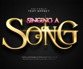 Singing a song text effect in vector