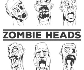 Sketch zombie head vector