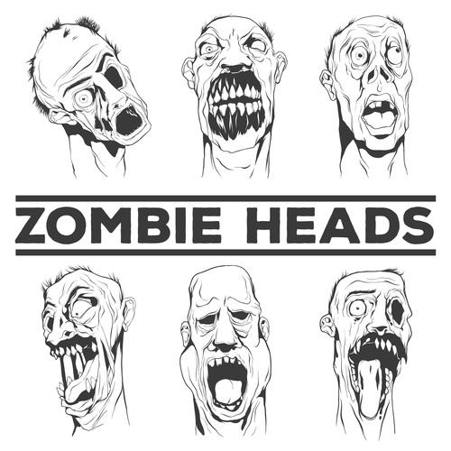 Sketch zombie head vector