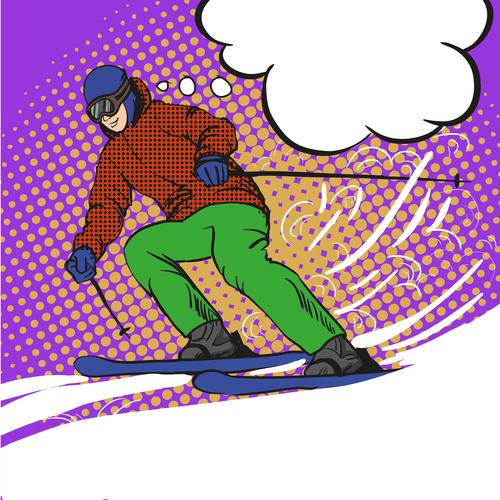 Ski cartoon vector