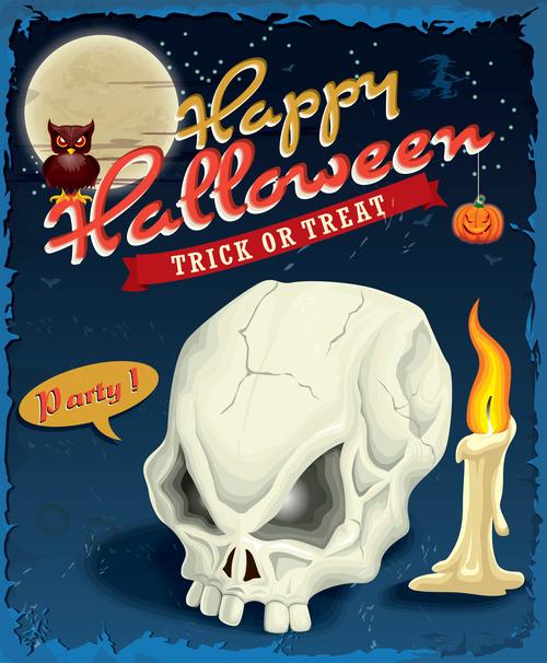Skull skull halloween poster design vector