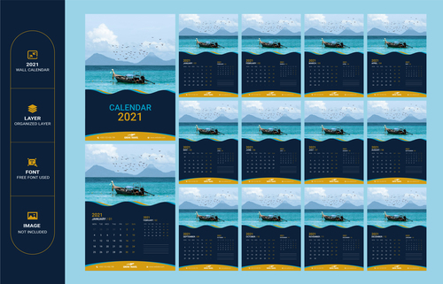 Small fishing boat background 2021 calendar vector