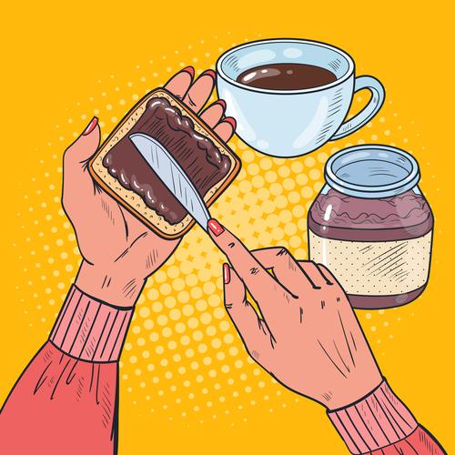 Smearing chocolate sauce cartoon vector