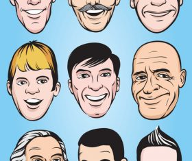 Smiling men faces vector