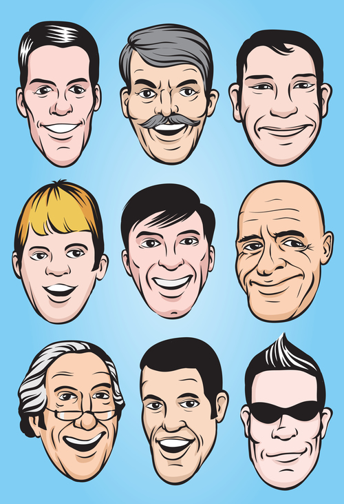 Smiling men faces vector