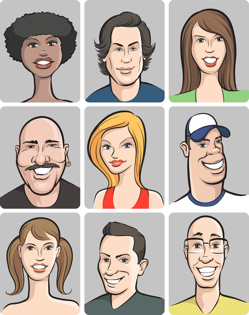 Smiling people faces collection vector
