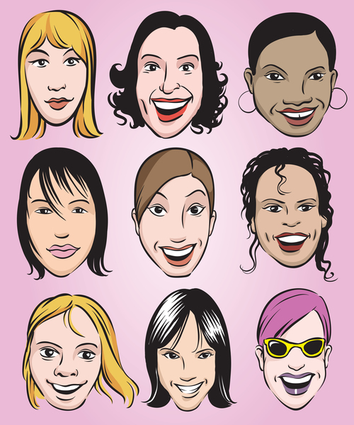 Smiling woman faces vector
