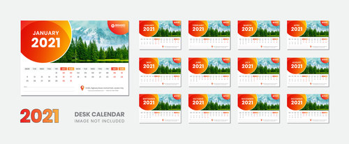 Snow mountain and green pine background 2021 desk calendar vector