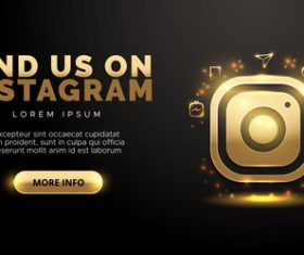 Social network in gold design on black background vector