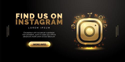 Social network in gold design on black background vector
