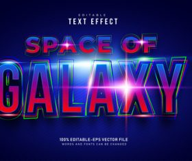 Space of galaxy font text effect in vector