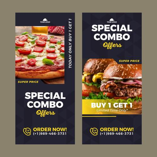 Special combo meals discount poster vector