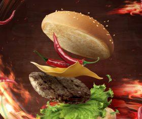 Spicy Hamburger Advertising Vector
