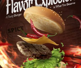 Spicy taste 3d illustration hamburger advertising vector