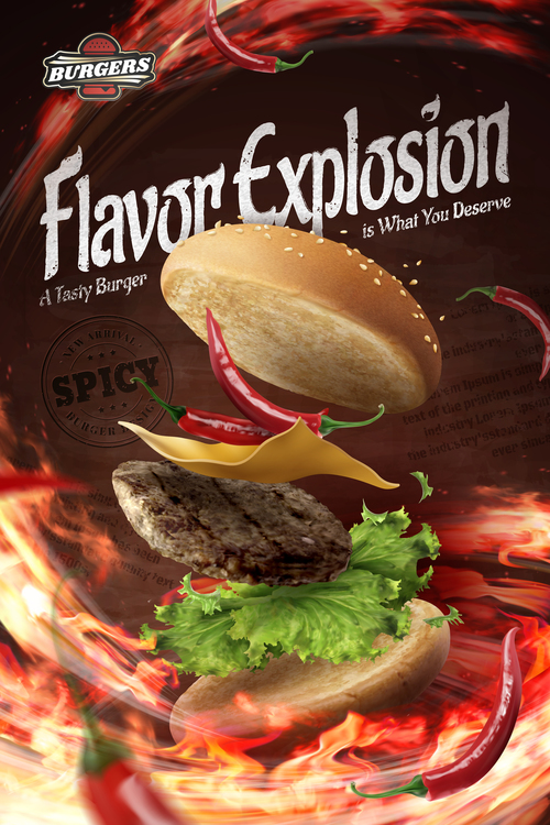 Spicy taste 3d illustration hamburger advertising vector