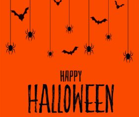 Spider and bat silhouette halloween card vector