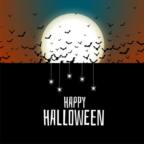Spooky scary halloween card vector