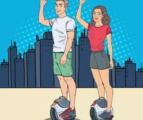 Sporty men and women cartoon vector