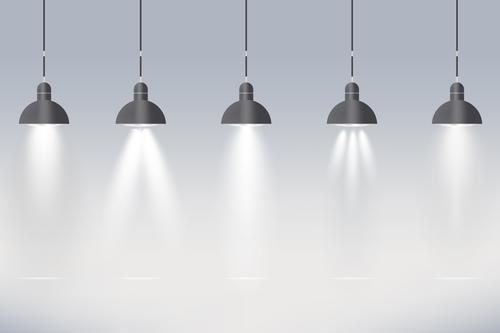 Spotlights with different light effects vector