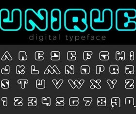 Square Digital Font vector