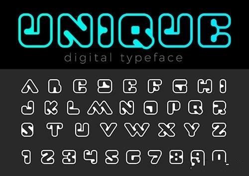Square Digital Font vector