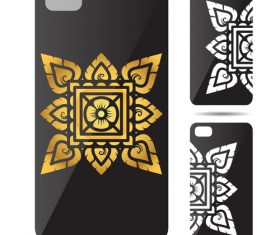 Square hexagon leaf mandala art pattern phone cases cover vector