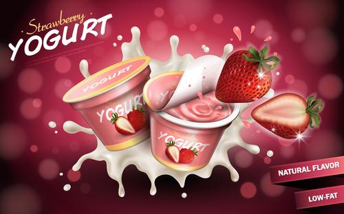 Strawberry flavor yogurt advertising vector