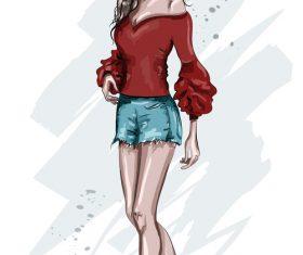 Street fashion girl watercolor illustration vector