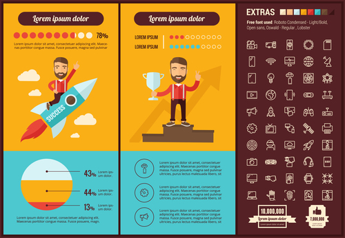 Success winning infographic vector