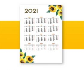 Sunflower decoration 2021 calendar vector