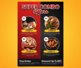 Super combo meals discount poster vector