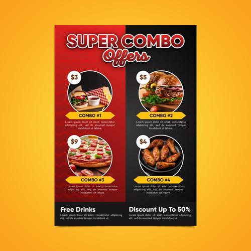 Super combo meals discount poster vector