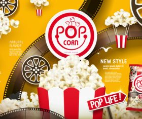 Super crunchy popcorn advertising vector
