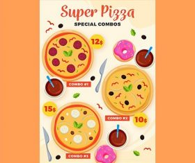 Super pizza combo meals poster template vector