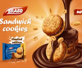 Sweet Chocolate Flavored Biscuit Advertising Vector