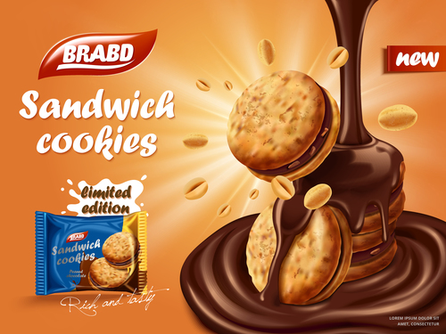 Sweet Chocolate Flavored Biscuit Advertising Vector