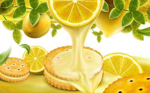 Sweet and delicious lemon sandwich cookies advertising vector
