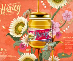 Sweet honey advertising vector