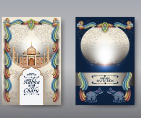 Taj Mahal background wedding invitation card vector